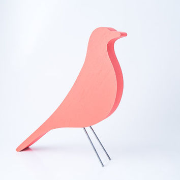 Eames bird remake home decor item wood hand painted design icon simplified peach coral color