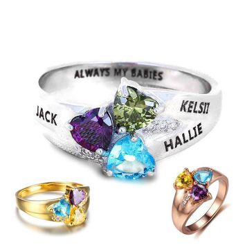 Personalized Sterling Silver 3 Hearts Family Birthstone Ring With Engraving - Silver, Rose or Gold