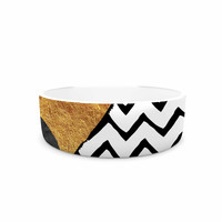 "Zara Martina Mansen ""Chevron Hills"" Gold Black White Pet Bowl"