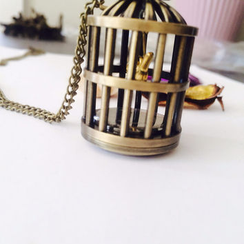 Antique bird cage Pocket Watch Necklace- charm- bird- cage- watch chain