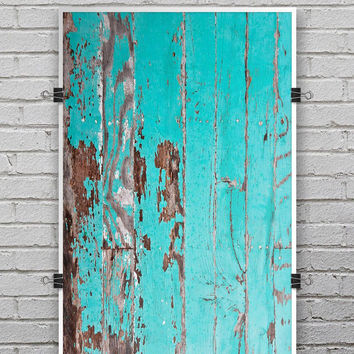 Turquoise Chipped Paint on Wood - Ultra Rich Poster Print