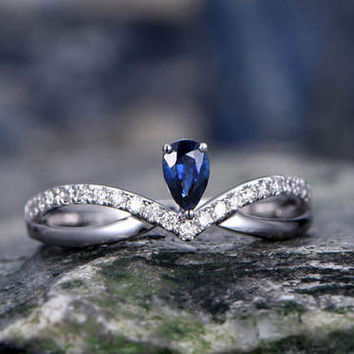 Blue Sapphire wedding ring-solid 14k white gold-handmade diamond ring-Princess Crown- Girl engagement ring-Tear Drop stone promise ring
