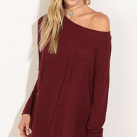 Burgundy Off Shoulder Loose Dress  12303