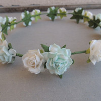 Mint & White Flower Crown