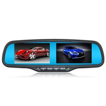 ac NOOW2 Car Interior Replacement Rear View Mirror Built in Dual Two 4.3 inch TFT LCD Monitors with Special Bracket 4CH Video Input