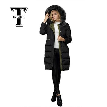 T-INSIDE Winter Duck Down Jacket Women Long Black Slim Coat Parkas Thickening Female Warm Clothes Real Fur Collar High Quality