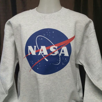 NASA Meatball Space Ash Colored Sweat Shirt