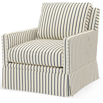 Avon Striped Swivel Chair, Cream/Blue, Club Chairs