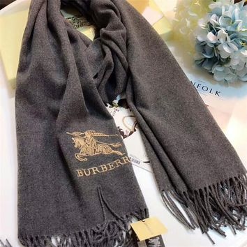 Luxury Burberry Keep Warm Scarf Embroidery Scarves Winter Wool Shawl Feel Silky And Delicate - Black