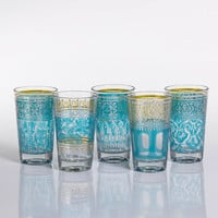 Casablanca Glass Tealight Holders - Blue - Set of 12