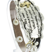 John 3:16 Whoever Believes In Him Leather Bracelet, Silver