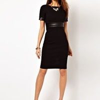 Vesper Dress with Faux Leather Waist Detail at asos.com