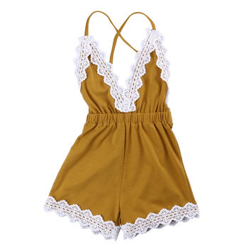 V Neck Jumpsuit Flower Outfits Clothes New Adorable Newborn Baby Girls Clothing Romper Sleeveless Backless