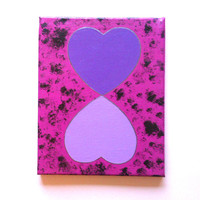 purple hearts acrylic canvas painting for girls room
