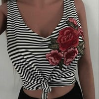 Bralette Stylish Hot Comfortable Beach Spaghetti Strap Bra Summer Fashion Embroidery Stripes Tops Sexy Vest [10336191939]