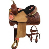 "13"" Double T Pony/Youth Saddle Set, 12"" saddle sets features floral tooled skirts, 12"" saddle with pommel and silver laced rawhide cantle"