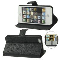 iTronz Premium Quality Wallet Stand Case for iPhone 5 Horizontal with Credit Card Slots & Holder Leather Case (Sprint, AT&T Verizon and International Carriers)