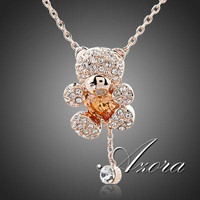 AZORA Cute Girl 18K Rose Gold Plated Rhinestones and Heart Shape Zircon Bear Jewelry Necklace TN0093