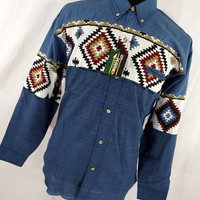 New NOS 70s Vintage Mens Rodeo Shirt XL Button Down Front Denim Navajo Western Cowboy Mexican V5