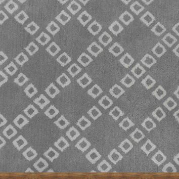 Lattice Squares Gray Contemporary Living Room Woolen Area Rug 8 x 10