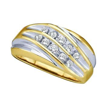 10kt Yellow Two-tone Gold Men's Round Diamond Wedding Anniversary Band Ring 1/2 Cttw - FREE Shipping (US/CAN)