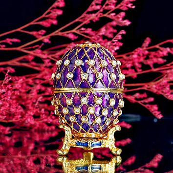 Vintage Faberge Inspired Purple Egg Jewelry Trinket Box
