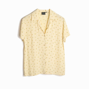 Vintage Tea Rose Print Blouse in Pale Yellow - women's small/medium