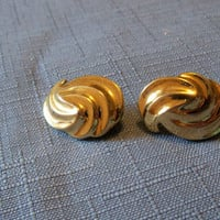 Vintage Earrings Monet Gold Tone Swirl Bridal Party Jewelry Wedding Special Occasion Gift Idea Christmas Holiday Birthday Anniversary
