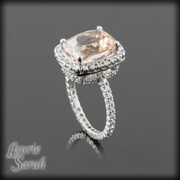 Cushion Cut Morganite Engagement Ring with Diamond Halo and Side Halo on a Eternity Diamond Shank - LS2742