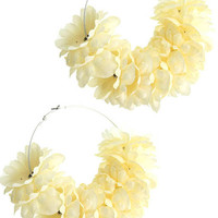 Hoop Fabric Flower Earrings Cream