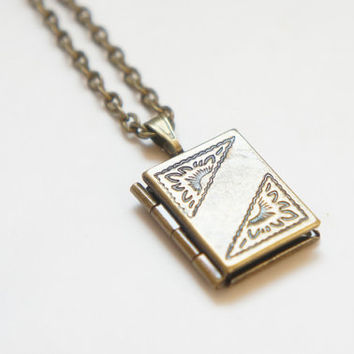Book Locket - Tiny Vintage Style Antiqued Brass Book Locket Necklace