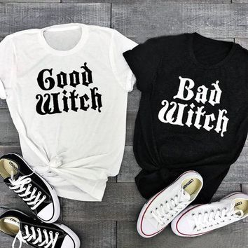 Funny Halloween Shirt Good Witch Bad Witch Couple T-Shirt Femme Casual Best Friend Halloween Letter Printed Tops Slogan Crewneck