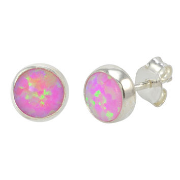 Sterling Silver Pink Opal Stud Earrings Gemstone 7mm Round