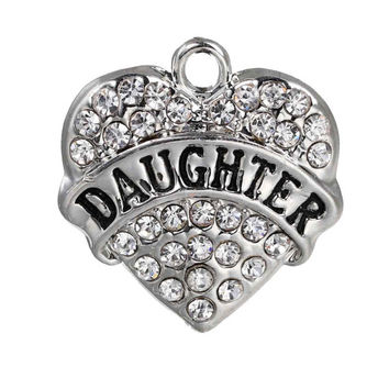2 Daughther Charms, Rhinestone Daughter Pendant 20mm, Rhinestone Daughter Heart Charms, Silver Tone Daughter Charms, Heart Charm, C67