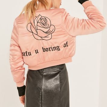 Missguided - Pink Slogan Cropped Bomber Jacket