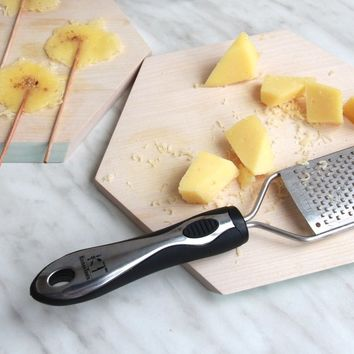 Supreme Zester Grater for Fluffy Cheese Shreds and Perfect Lemon Zest, Fine Handheld Grater with Comfortable Handle, Flat Sharp Stainless Steel Blade & Protective Cover