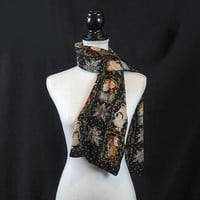 Victorian Christmas Scarf 100% Silk Chiffon and Black Velvet