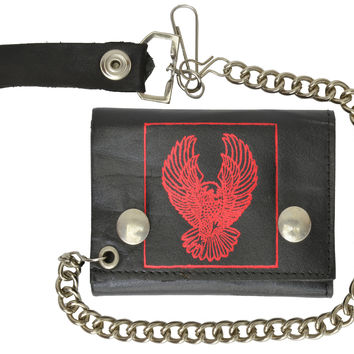 Red Eagle Imprint Biker Chain Trifold Wallet Genuine Leather 946-43 (C)