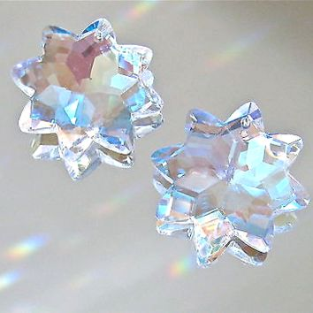 Crystal Two AB Star with 8 Points Prism Ornament Suncatcher Pendants, 30mm