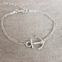 Anchor bracelet - Hope Bracelet Silver Anchor Bracelet Wedding Favor 10% off Coupon number : 2014131
