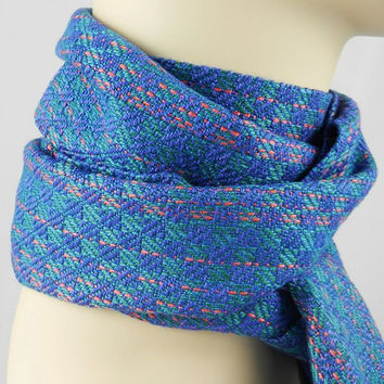 Checkerboard Scarf, Handwoven Women's Scarf, Bamboo, Blue Teal, Green Teal