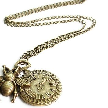 Small Honey Bee Insect Pendant Punk Necklace
