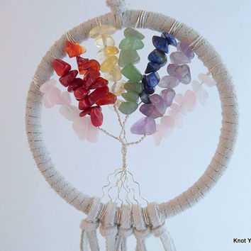 Rainbow Gemstone Chakra Tree of Life dream catcher