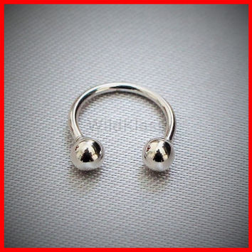 14k White Gold Ring 16G 14G Solid Gold Horseshoe Circular Barbell Septum Lip Earring Eyebrow Nose Nipple with Balls Cartilage Helis Tragus