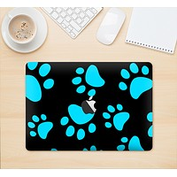 """The Black & Turquoise Paw Print Skin Kit for the 12"""" Apple MacBook"""