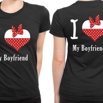 I Love My Boyfriend Valentine 2 Sided Womens T Shirt