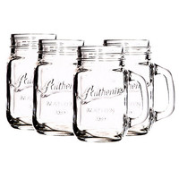 Home Comfort by Home Essentials Authentic Embossed Glass Mugs with Handle, Set of 4 | Dillards