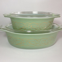 Pyrex Green Golden Scroll Covered Oval Casserole Set, #043 1.5 Quart, #045 2.5 Quart, Mint Green Pyrex, Sage Green Pyrex