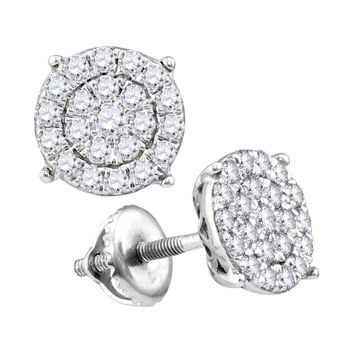 10kt White Gold Womens Round Diamond Concentric Circle Cluster Earrings 1/4 Cttw