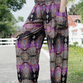 comfy hipie pants peacock design Harem pants fisherman pants/nightwear/baggy pants/Aladdin Pants/jumpsuit/Yoga pants/palazzo pant/boho pants